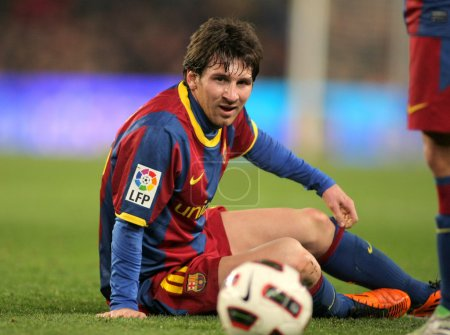 Messi of Barcelona in action