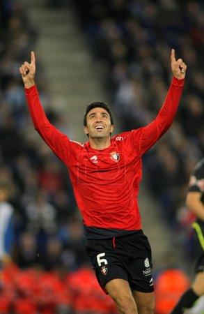 Javad Nekounam of Osasuna celebrates goal