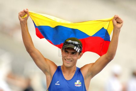 Eider Arevalo of Colombia celebrate gold