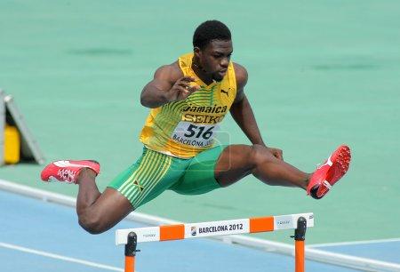 Jarvan Gallimore of Jamaica during 400m hurdles event