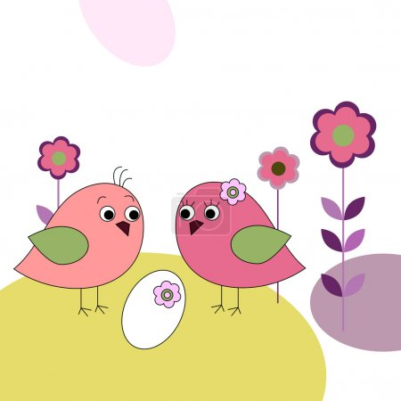 Illustration for Family of a birds and eggs - Royalty Free Image
