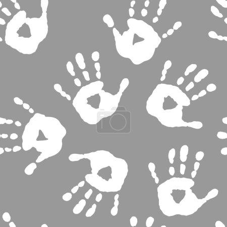 Illustration pour Modèle sans couture avec une empreinte de main blanche - image libre de droit