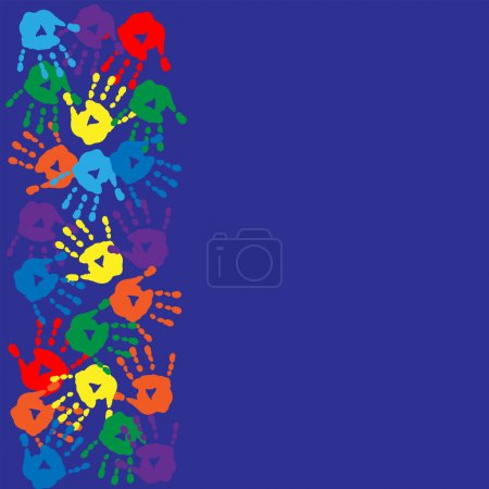 Illustration for Bright background for text with a prints of hands - Royalty Free Image