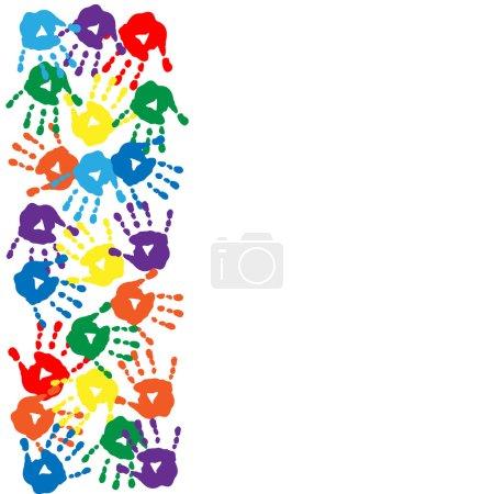 Illustration pour Carte avec empreintes de mains colorées sur fond blanc - image libre de droit