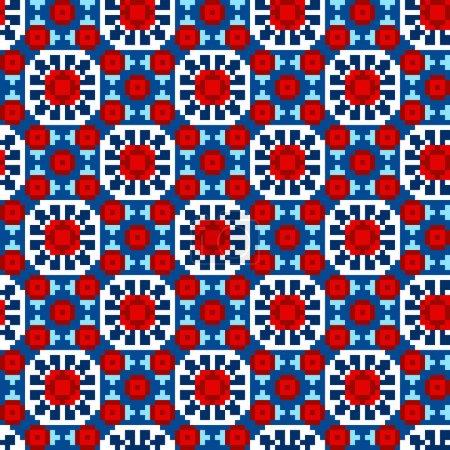 Illustration pour Point de croix motif sans couture ethnique. Fond d'ornement traditionnel orient fait main . - image libre de droit
