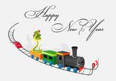 Snake goes on steam locomotive