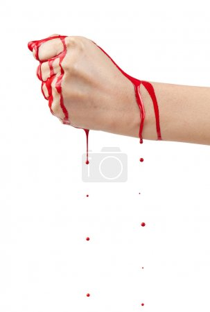 Photo for A bloody hand making a fist with blood dripping down isolated on white. - Royalty Free Image