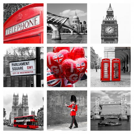 Photo pour Monochrome collage of London landmarks and attractions: red telephone booths, red buses, royal guard, Big Ben, Tower bridge, St Paul's cathedral, street sign - image libre de droit
