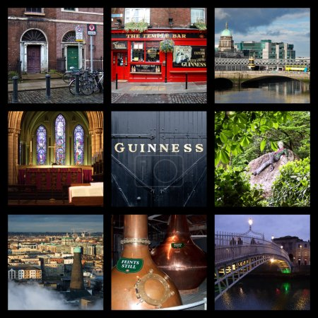 Photo for Collage of Dublin landmarks and attractions: Georgian doors, Temple Bar, Customs House, St Patrick's Cathedral, Guinness storehouse, Oscar Wilde's statue, Jameson distillery, Ha'penny bridge - Royalty Free Image