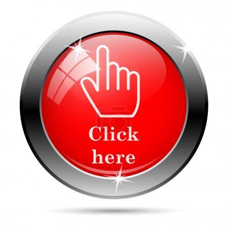 Photo pour Cliquez ici icône avec du blanc sur fond rouge - image libre de droit