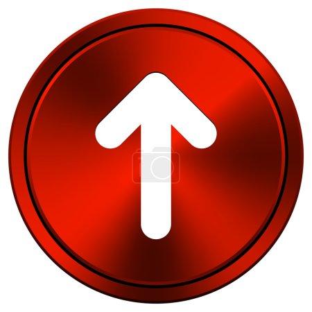 Photo pour Icône métallique avec motif blanc sur fond rouge - image libre de droit