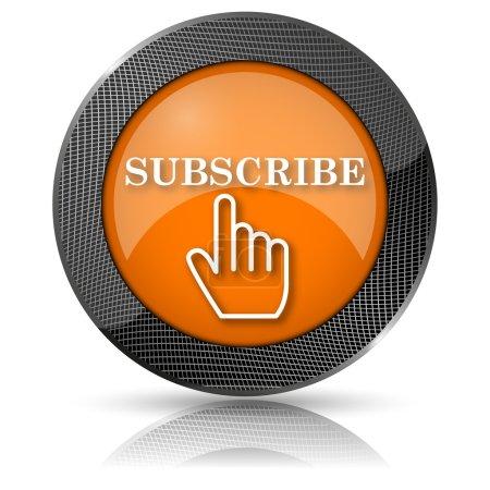 Photo pour Icône glossy brillante avec motif blanc sur fond orange - image libre de droit