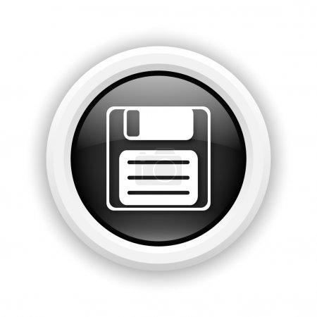 Round plastic icon with white design on black back...