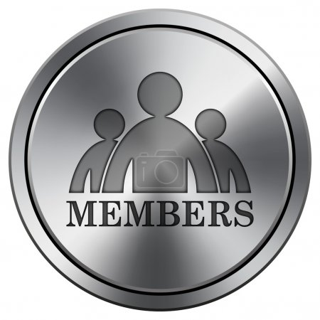 Photo for Members icon. Metallic internet button on white background - Royalty Free Image