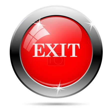Exit icon with white on red background...