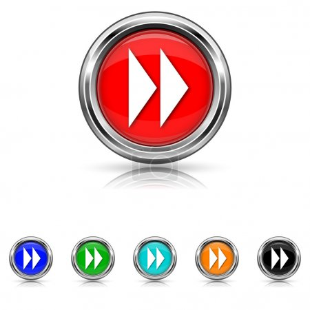 Fast forward sign icon - six colours set