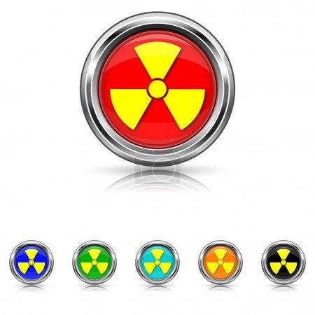 Radiation icon - six colours set