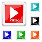 Square shiny icons - six colors vector set - eps10