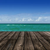 Beach with wooden plank