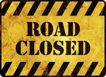 Foto de Señal de advertencia de camino cerrado - Imagen libre de derechos