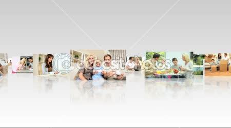3D Montage Images Caucasian Family Living