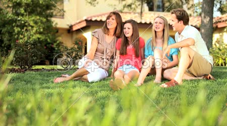 Happy Family Time Together Outdoors