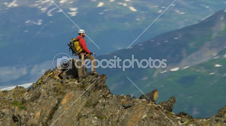 Climber at remote wilderness Mountain Peak