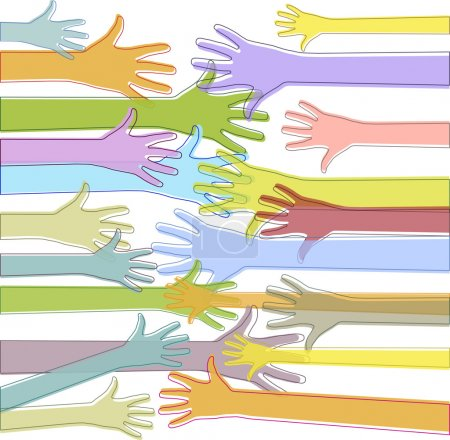 PrintColorful hands reach out