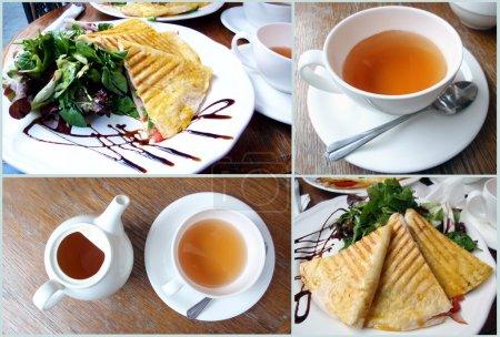 Photo pour Collage de nourriture internationale fraîche avec du thé - image libre de droit
