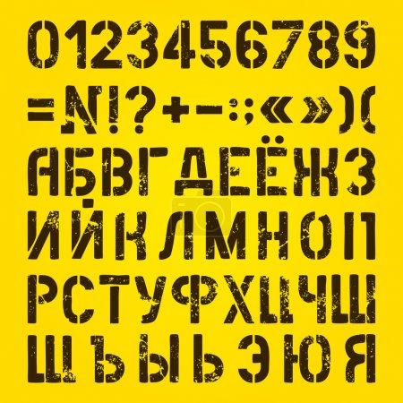 Illustration pour Lettres et chiffres Stencils peints. Alphabet cyrillique - image libre de droit