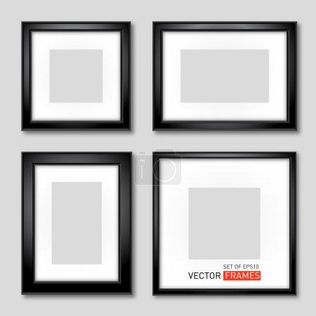 Illustration pour Ensemble de cadres photo noirs. Illustration vectorielle - image libre de droit