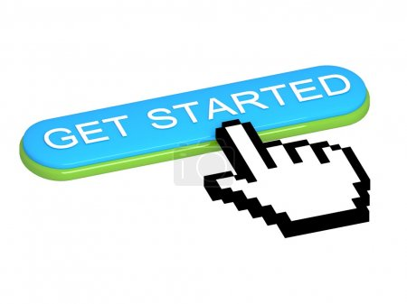 GET STARTED button with hand cursor