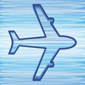 Simple airplane symbol on blue sky background