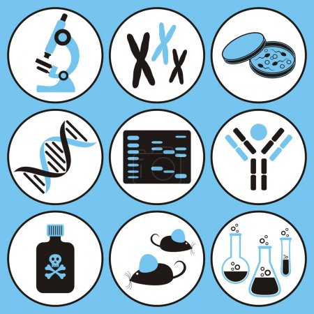 Illustration for Set of black and blue molecular biology science icons - Royalty Free Image