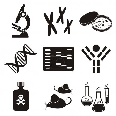 Illustration for Set of black and white molecular biology science icons - Royalty Free Image