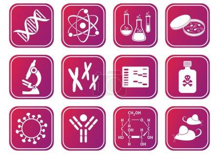 Illustration for Set of red-violet molecular biology science icons - Royalty Free Image