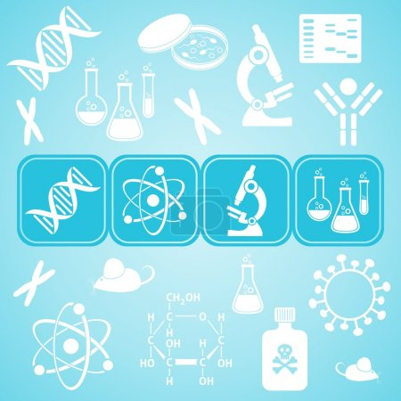 Illustration for Turquoise card with white molecular biology science icons - Royalty Free Image