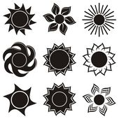 Set of black abstract icons of sun - vector illustration
