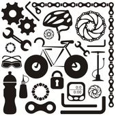 Black collection of bicycle accessories vector silhouette icons