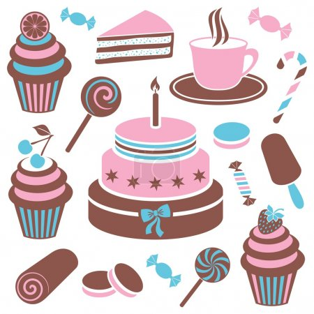 Illustration for Colorful desserts and sweets icon vector silhouette collection - Royalty Free Image