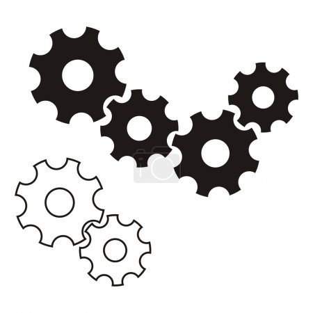 Illustration pour Icône de roues dentées vectorielles noires sur fond blanc - image libre de droit