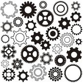 Various gear wheel collection black vector silhouette