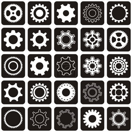 Illustration for Various gear wheel collection in black rounded squares - Royalty Free Image