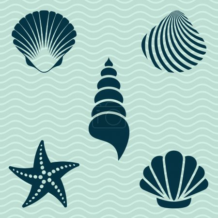 Illustration for Set of various sea shells and starfish silhouettes - Royalty Free Image