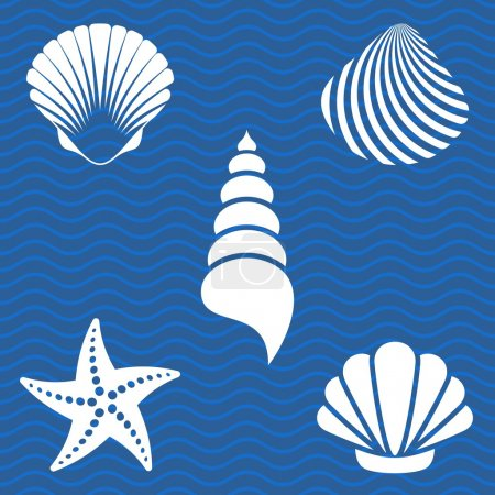 Illustration for Set of white sea shells and starfish silhouettes - Royalty Free Image