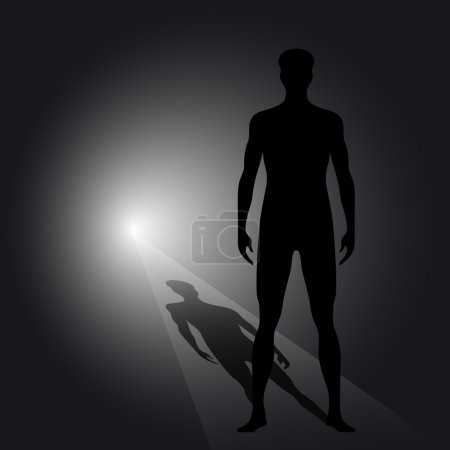 Abstract man silhouette with shadow