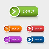 Colored rectangular web buttons sign up