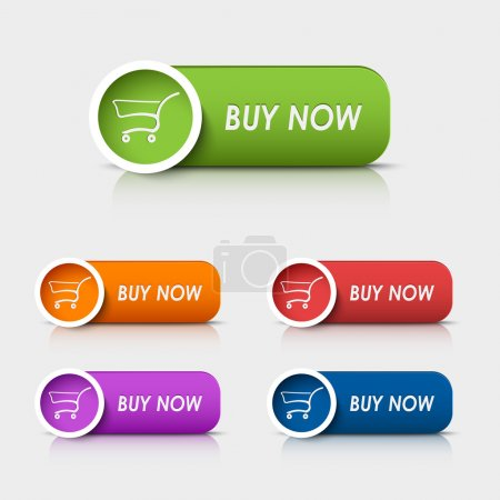Illustration for Colored rectangular web buttons buy now vector eps 10 - Royalty Free Image