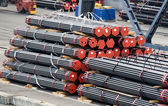 Stack of metal bars prepared for loading