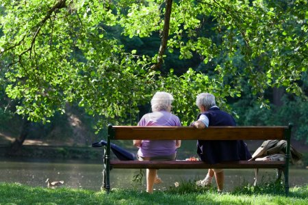 Photo for Grandparents are sitting on the bench and talking to each other in the spring park - Royalty Free Image